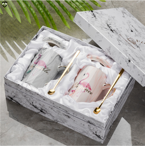 Marble Gold Plating Couple Milk Coffee Tea Porcelain Cup flamingo japanese ceramic mug gift cutlery set for wedding gift