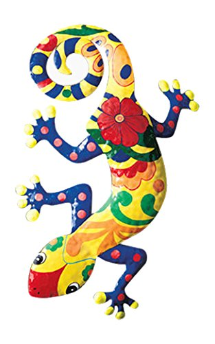 Get Quotations · Gecko Metal Wall Art Garden Mexican Talavera Style Colorful