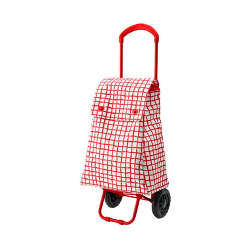C&H HCC& Shopping Cart Dolly Portable Multifunction Foldable Carbon Steel Trolley 40L Grocery Laundry Utility Cart