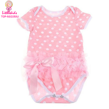 d75f220395f7 Cotton Romper Onesie Boutique Pink Dots Tutu Ruffle Bowknot Ribbon Jumpsuit  0 24month Summer Baby Girls