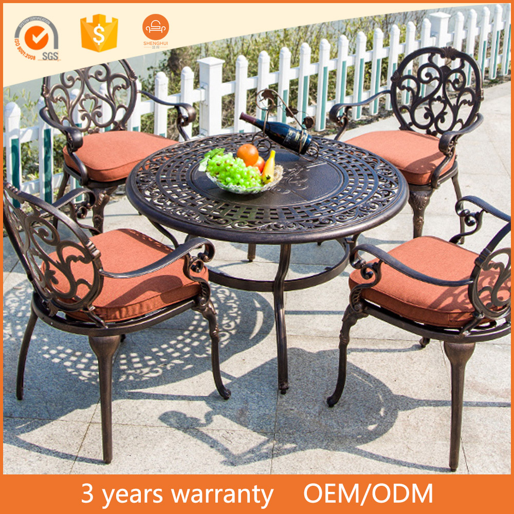 European Fashion Style 5PCS Cast Aluminum Outdoor Balcony Courtyard Lounge Leisure BBQ Garden Furniture