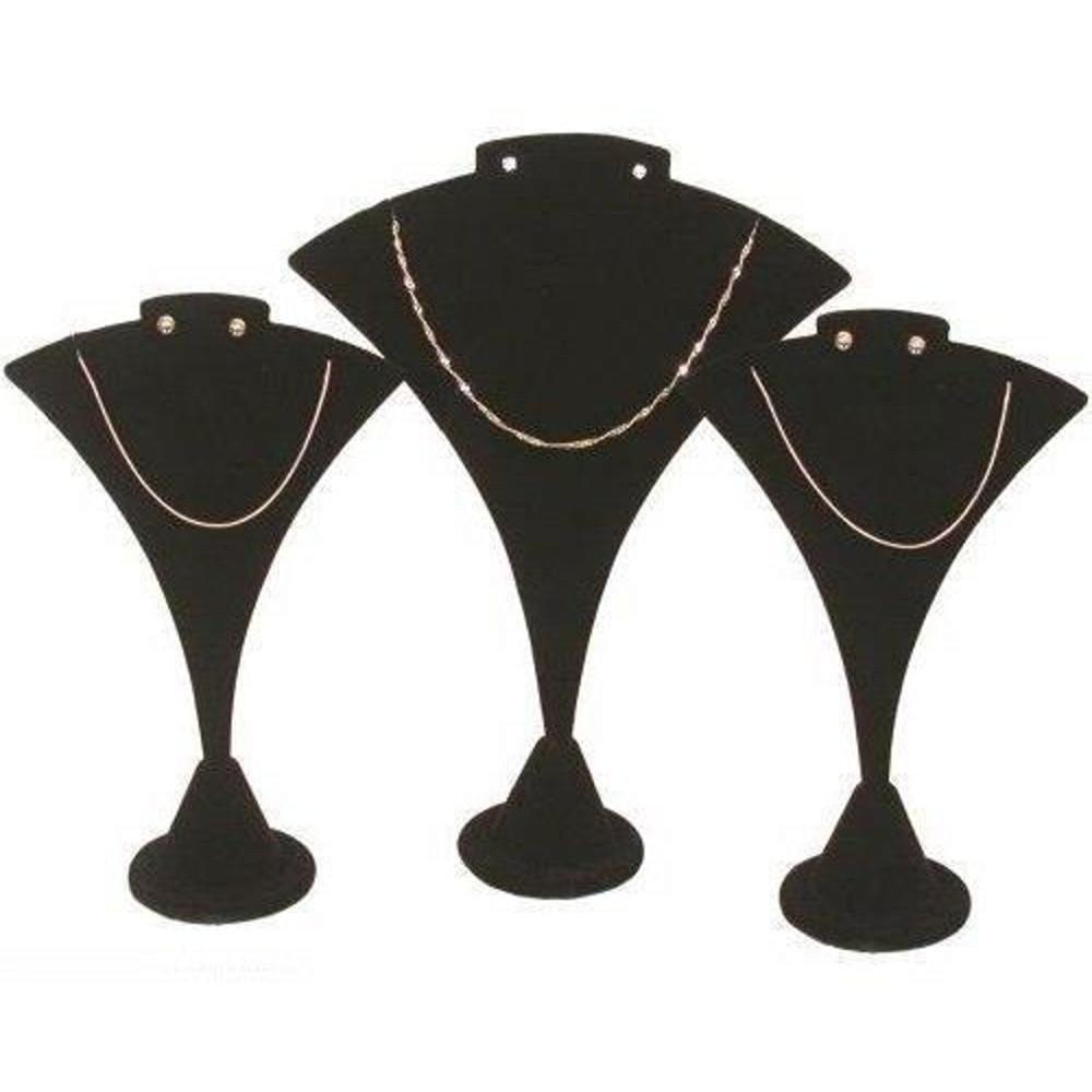 3 Black Velvet Combo Necklace & Earring Stand Display