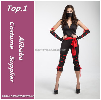 new style red belt mask ninja polyester and spandex sexy halloween costume