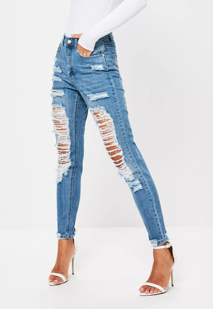 2017 Top blue riot high rise ripped mom jeans