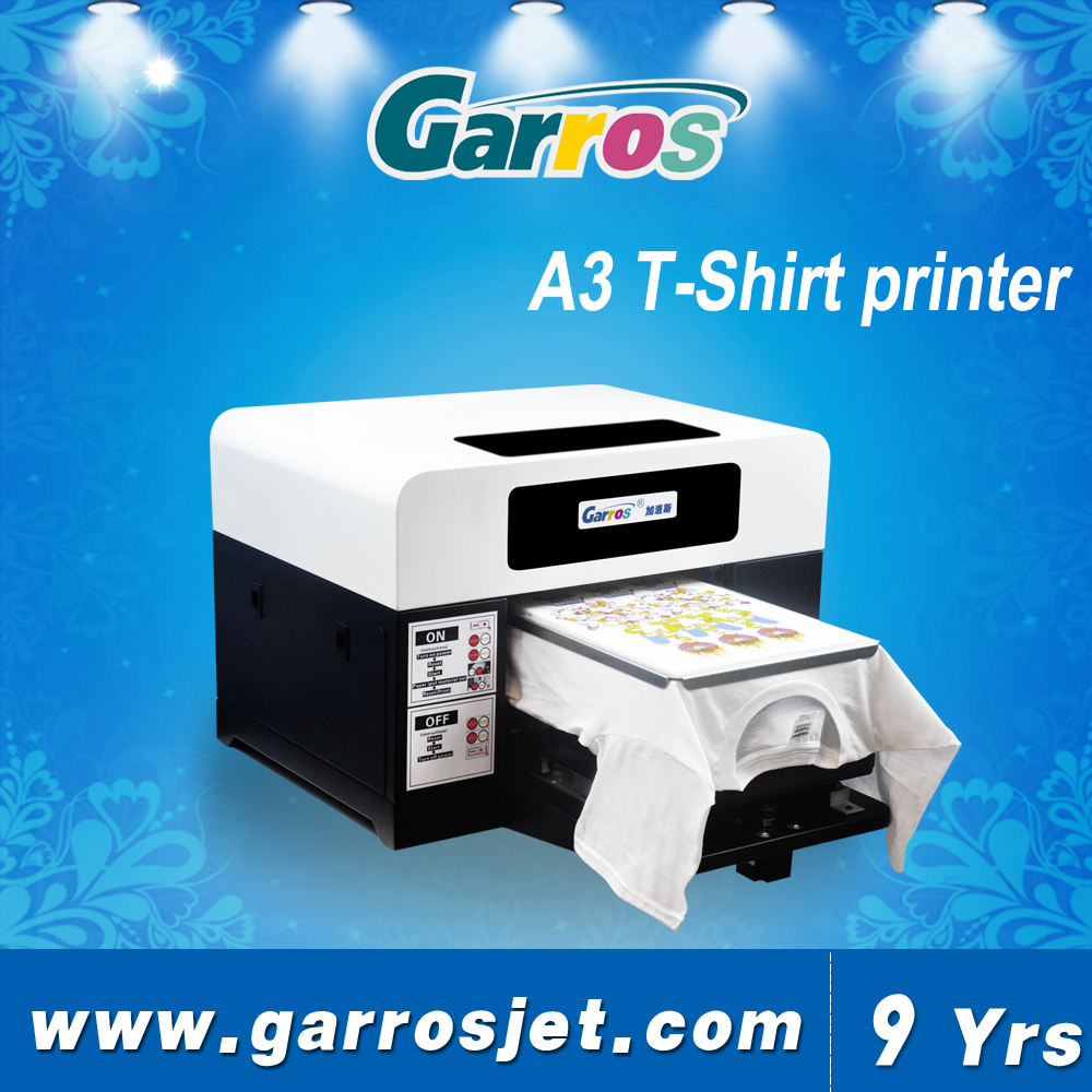A3 size for direct to dark and light garment tshirt printing machine cotton t-shirts printer