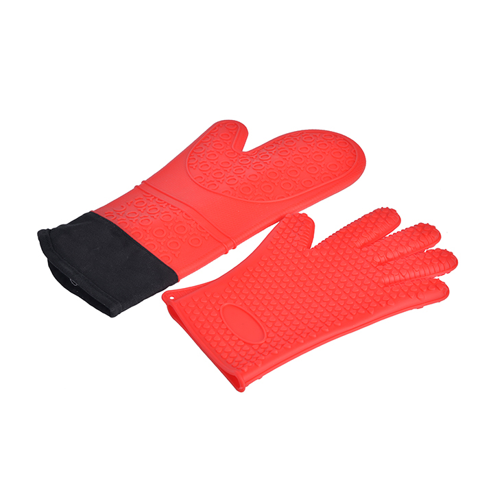 High Quality Food Grade Silicone Rubber Oven Mitt With Cotton Lining