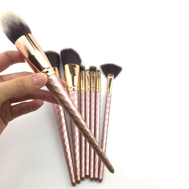 wholesale 8pcs metallic luster private label cosmetic makeup brushes maquillaje