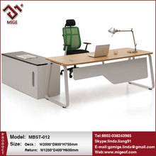 Wood and steel office table and file cabinet