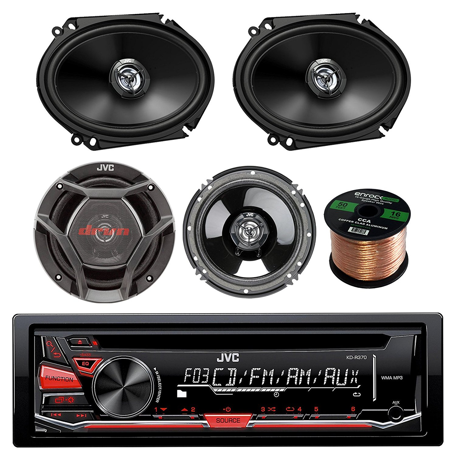 "JVC KD-R370 CD/MP3 AM/FM Radio Player Car Receiver Bundle Combo With 2x DR6820 300-Watt 6x8"" Inch Vehicle Coaxial Speakers + 2x DR620 6.5"" Inch 2-Way Audio Speakers + Enrock 50 Feet 16-Gauge Wire"