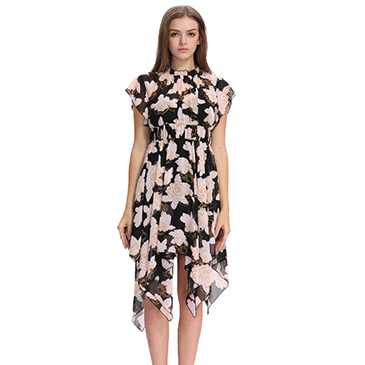 2017 new digital print design ladies fashion dress with pictures