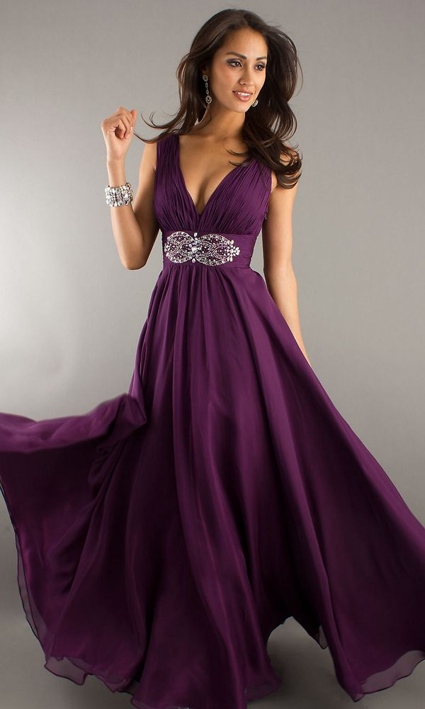 New! Sexy Deep V Neck A line Ruched Beading Long Grape ...