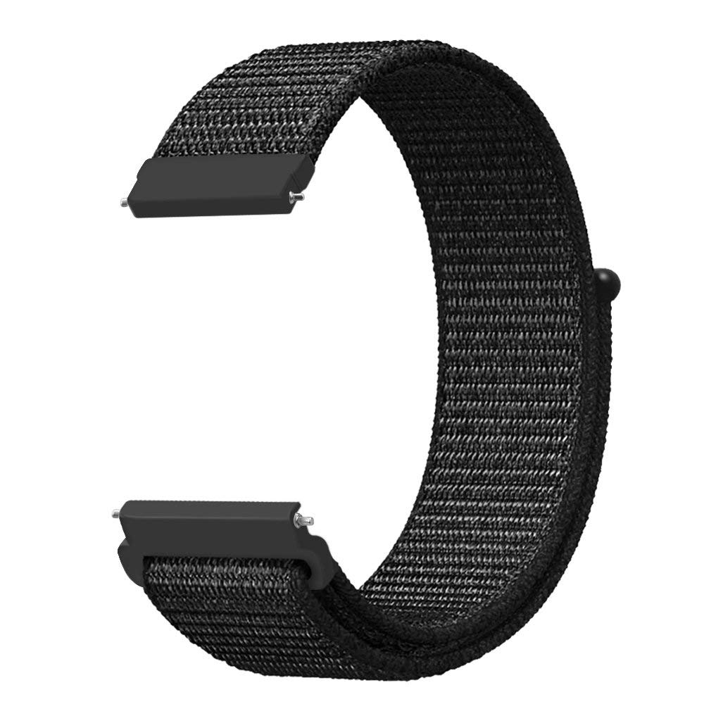 Band for Galaxy Watch 42mm & Gear Sport & Gear S2 Classic, Fintie 20mm Quick Release Nylon Sport Loop Smartwatch Replacement Strap Bands with Adjustable Closure for Men and Women - Black
