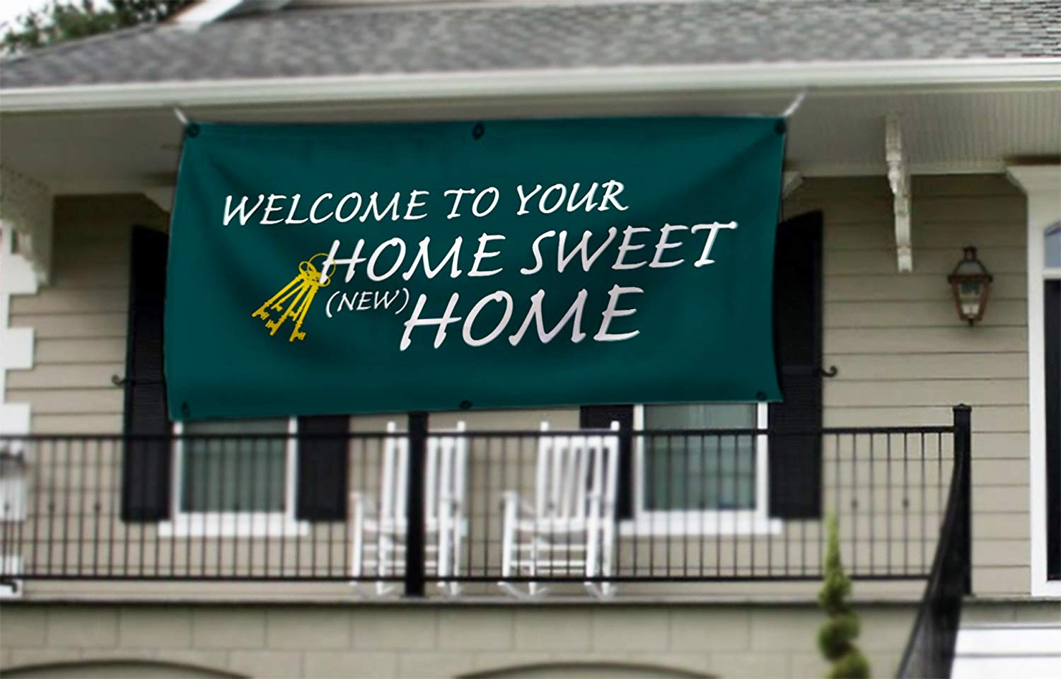 New Home Welcome Home Banner - Home Sweet Home - Housewarming Party Banner - 2' x 4'