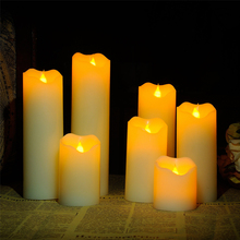 Variety Set of 6 Assorted Cream Slim Wax Drip Flameless Candles