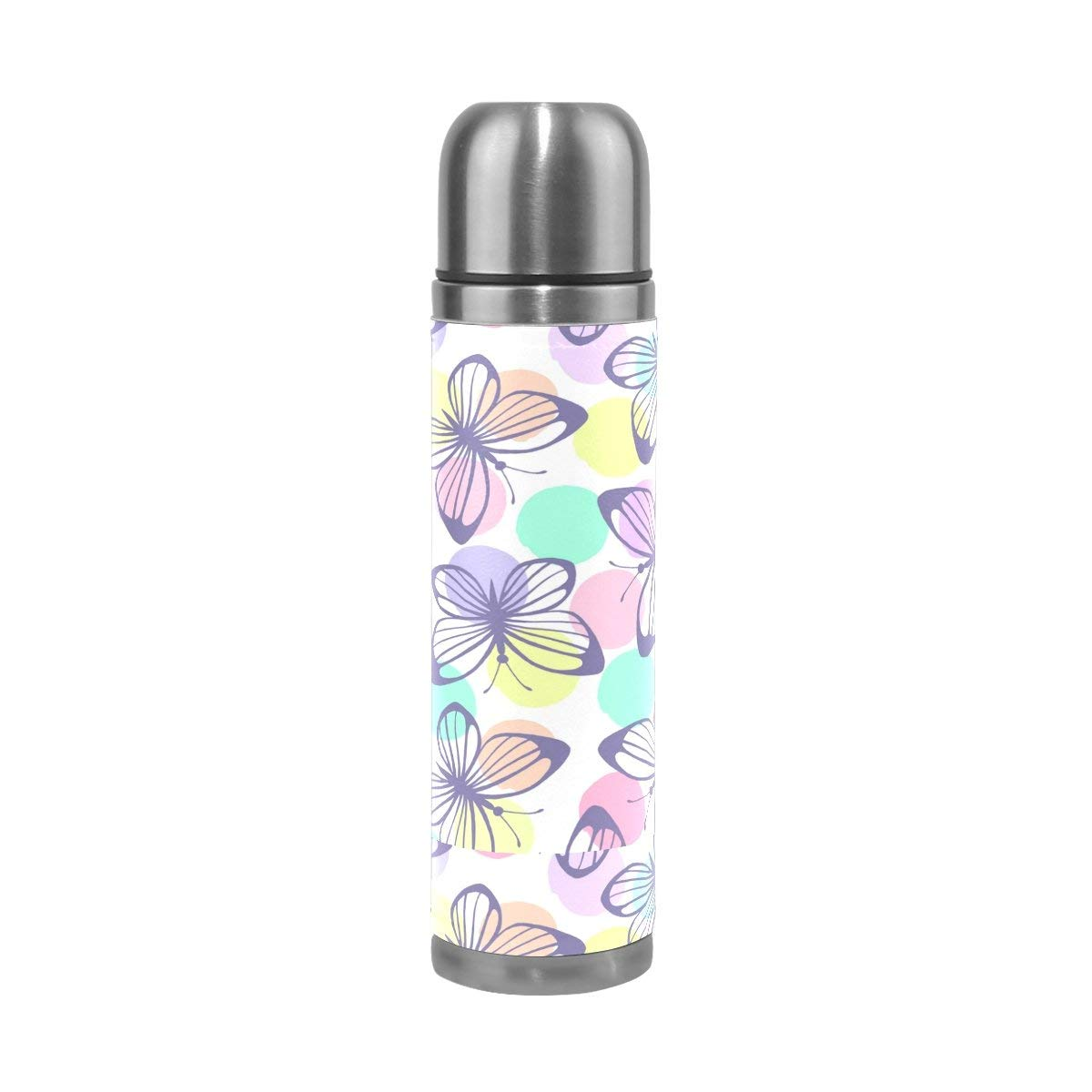 ALAZA Colorful Butterfly Stainless Steel Water Bottle Vacuum Insulated Thermos Double Wall Flask Genuine Leather Cover 17 OZ
