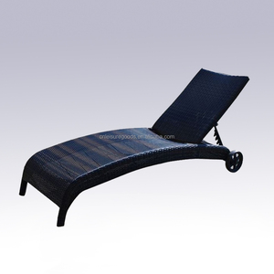 Patio rattan sun lounger garden chaise lounge wicker furniture