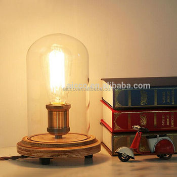 Decoration lighting vintage edison bulb wooden base table lamp with decoration lighting vintage edison bulb wooden base table lamp with round clear glass modern wooden table aloadofball Images