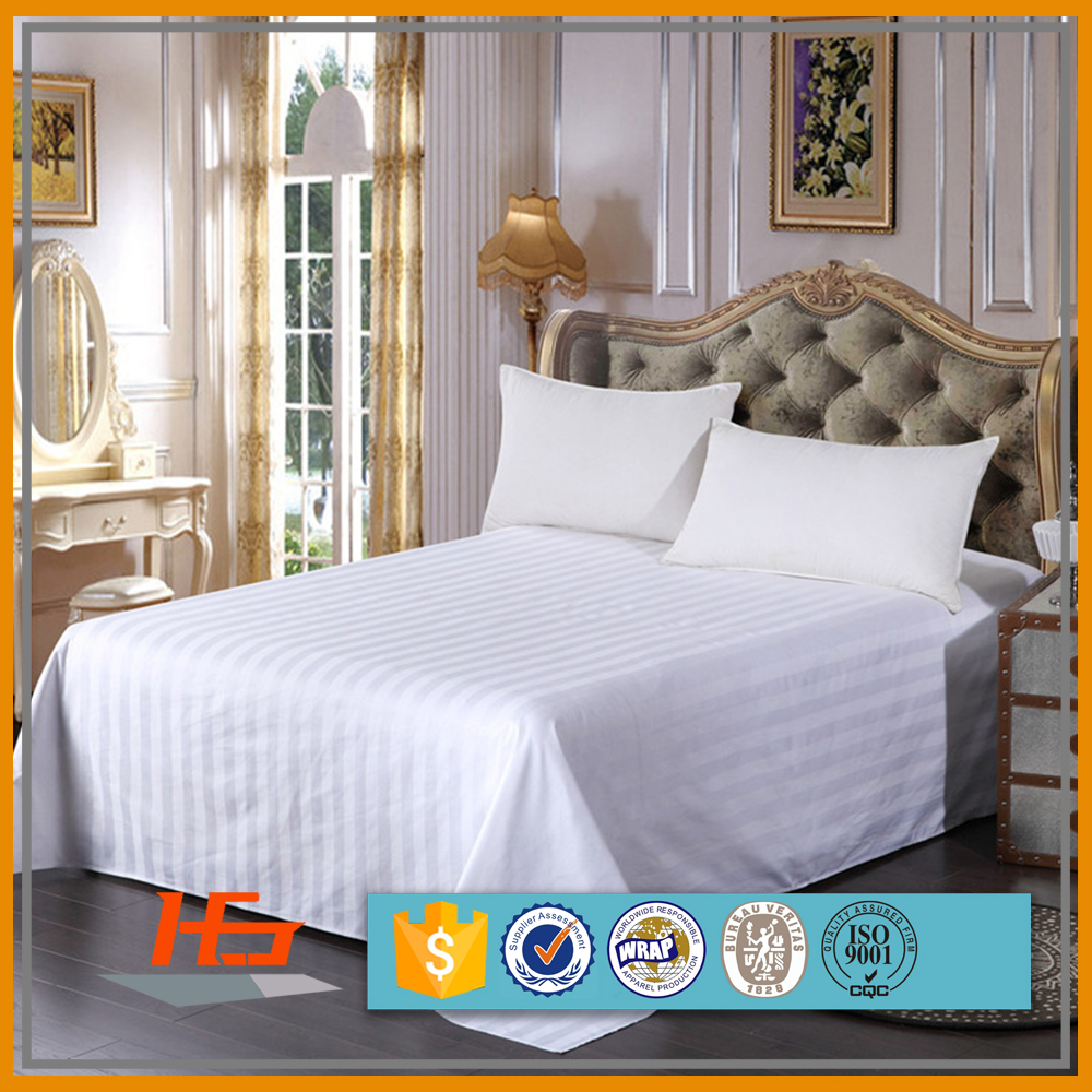 Wholesale High Quality 100 Cotton 300TC White Sateen Top Stripped Bed Sheet King Size