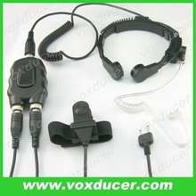 Throat vibration Mic Earphone with Aviation motorcycle PTT For ICOM transceiver radio intercom