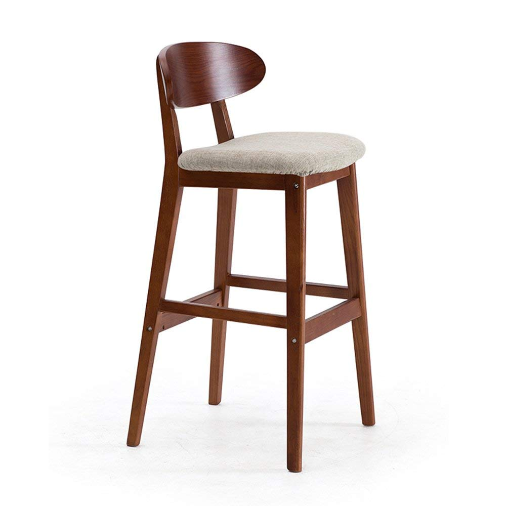 Barstools MAZHONG Linen Bar Stools Black Wood Bar Stools/Chairs With High Backs And Luxury Padded Seat (Color : A)
