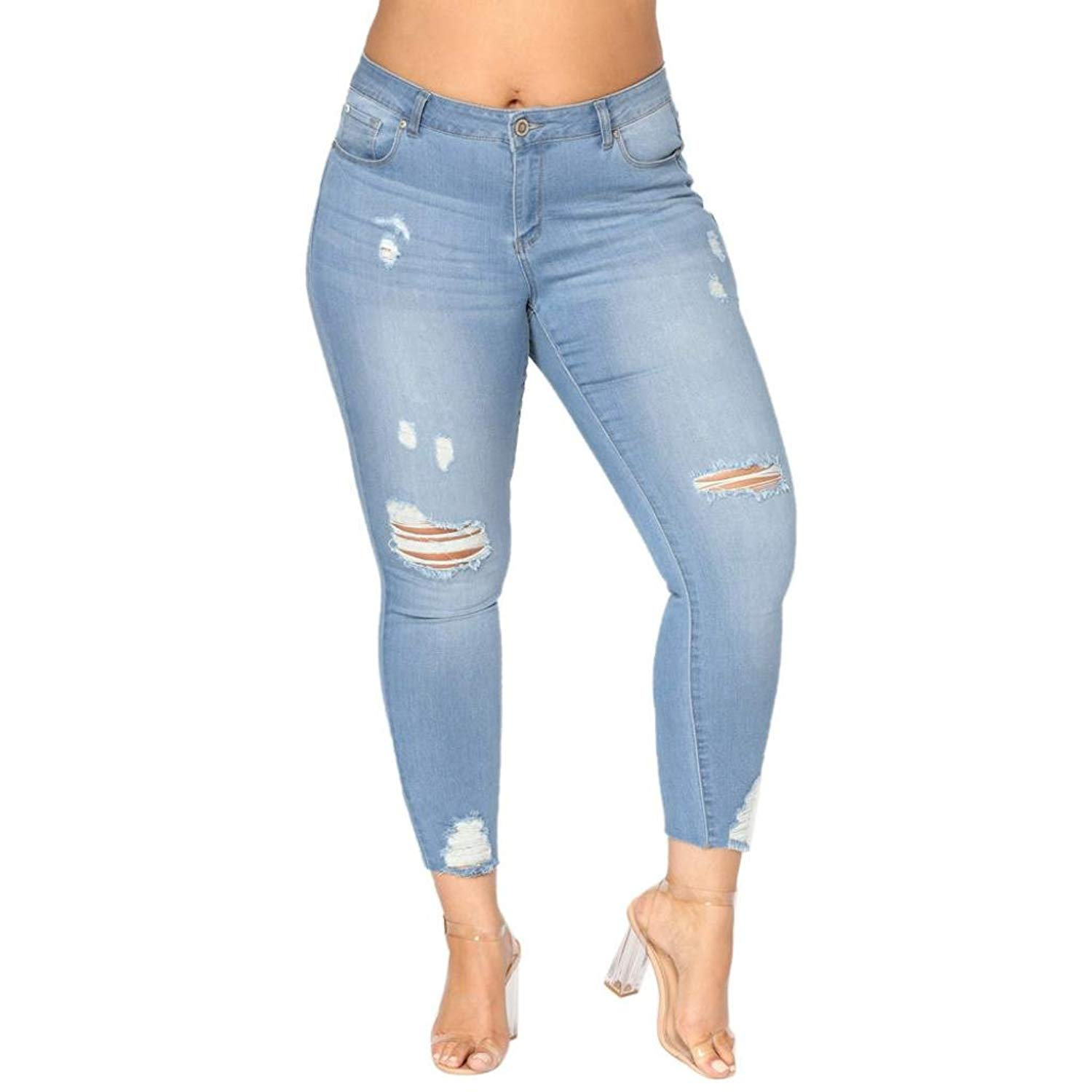 f60f2ffe0a5 Get Quotations · Leedford Ripped Holes Jeans