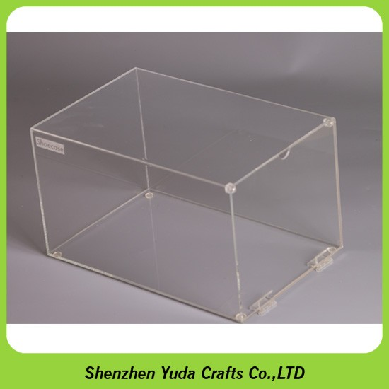Acrylic Shoe Boxes : Drop front lid shoe box clear magnet acrylic