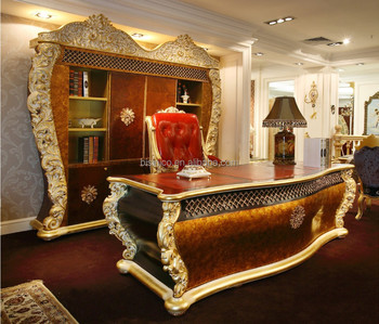 French Rococo Office Furniture Solid Wood Gold Leaf Office