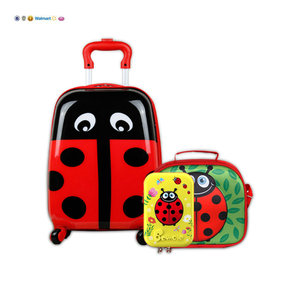 Cheap high quality animal cartoon school kids insulated lunch box set for kids with wheels