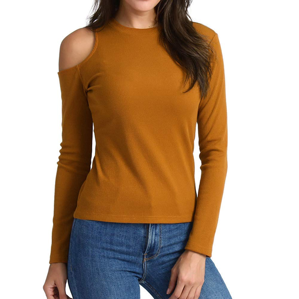POTO Shirts, Women Ladies Long Sleeve Cold Shoulder T-Shirt,O-Neck Pullover Tops Blouse Sweatshirt Tee