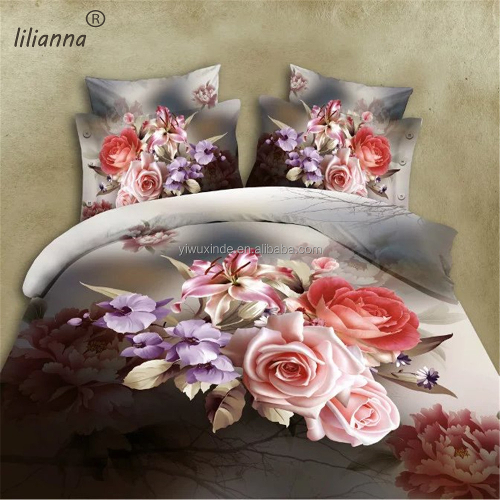 LILIANNA vintage 2016 3d bedding sets big rose flower bedding sets