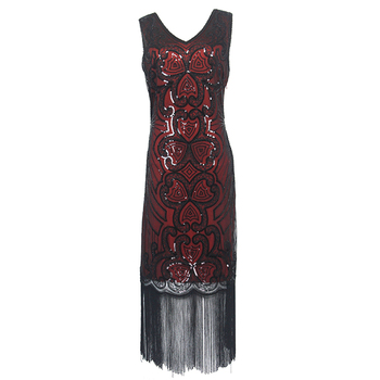Women's sleeveless sequin party flapper gatsby 1920's dress