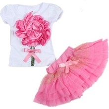 Alibaba Nice Color Great Quality Baby Girl Skirt Set Beautiful Summer pink dresses children gowns kids clothing online