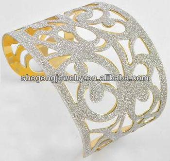 Glitter Cuff Bracelet 2 1 4 High Wide Unique Gold Silver
