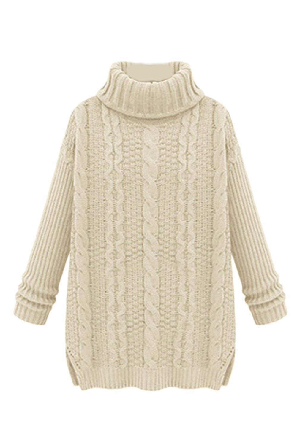 f8bfdfa933 Get Quotations · Women Warm Solid Turtleneck Knitted Rib Loose Knit Shirt  Sweater