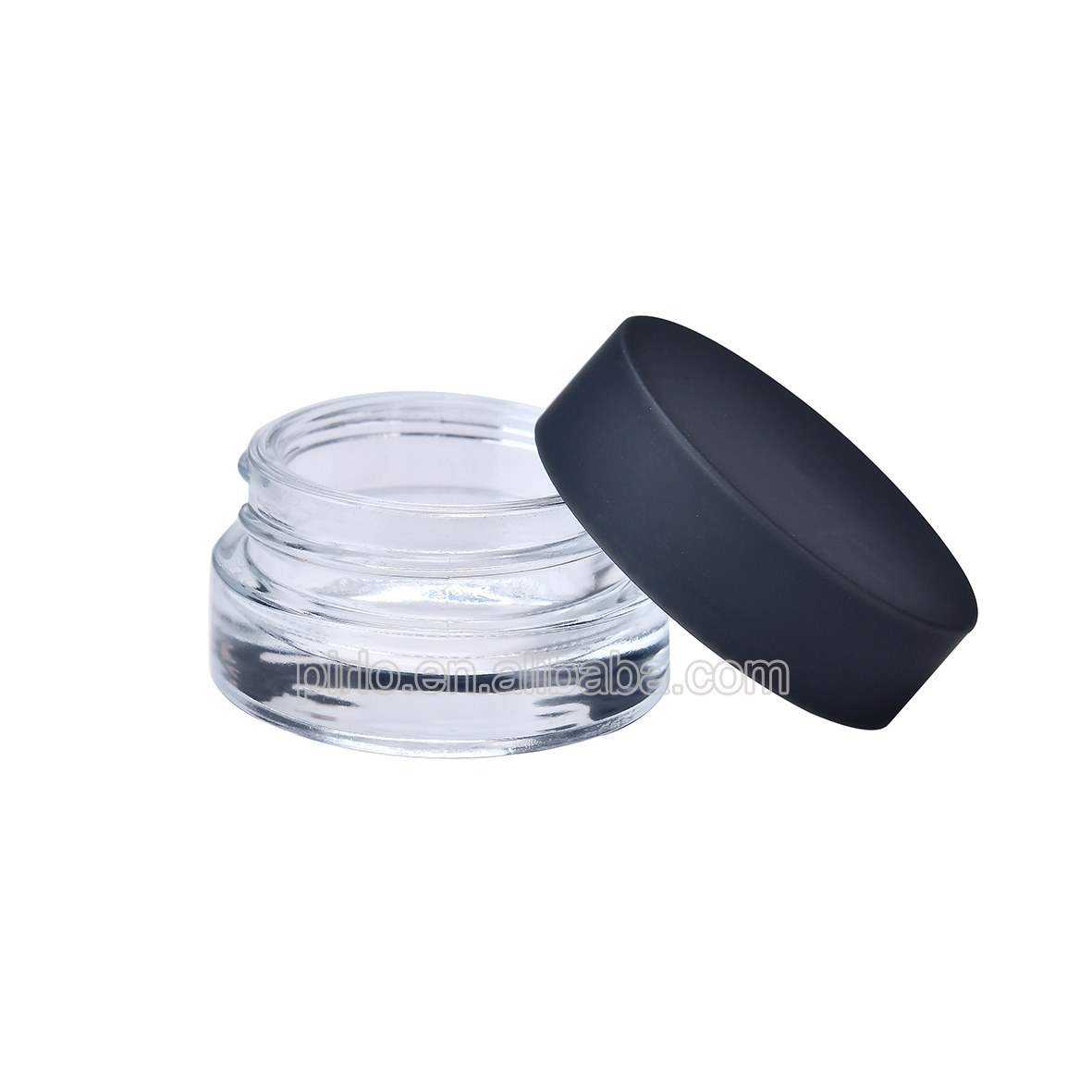 5g small clear glass jar with matte black lid eye cream jar glass cosmetic sampler cream jars