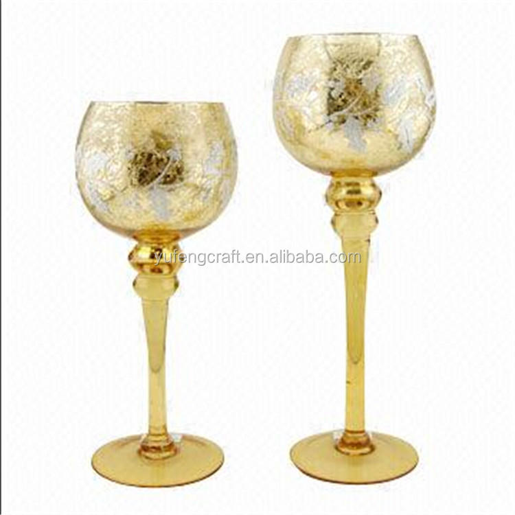Gold Mercury Glass Gold Mercury Glass Goblet Holiday Candle Holder