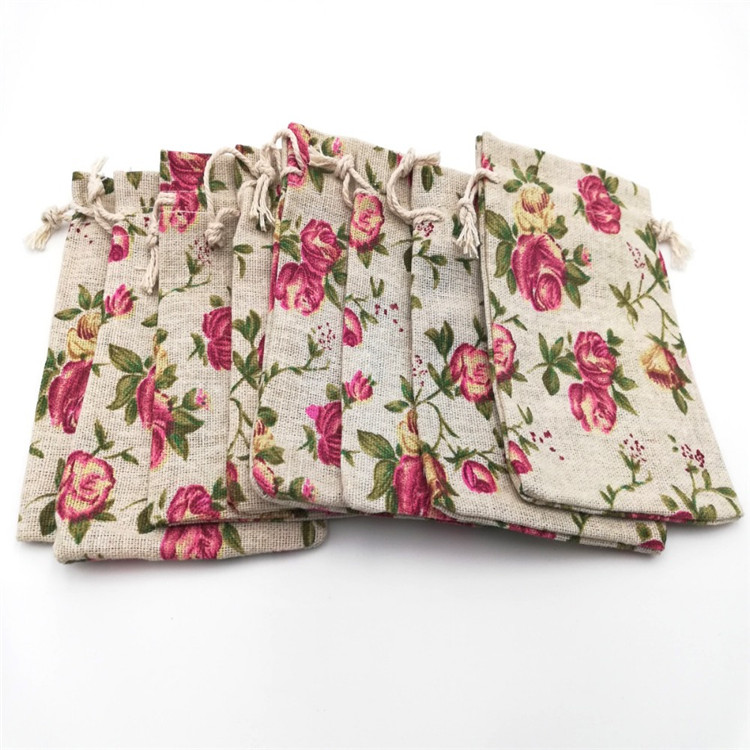 10*14cm Handmade Rose Flower Cotton Linen Drawstring Package Bags Sack Jewelry Pouches Wedding Bomboniera Gift Burlap Bags