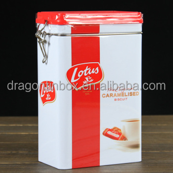 FDA Wholesale custom airtight rectangular cookie cans , tin biscuit packaging boxes with lock