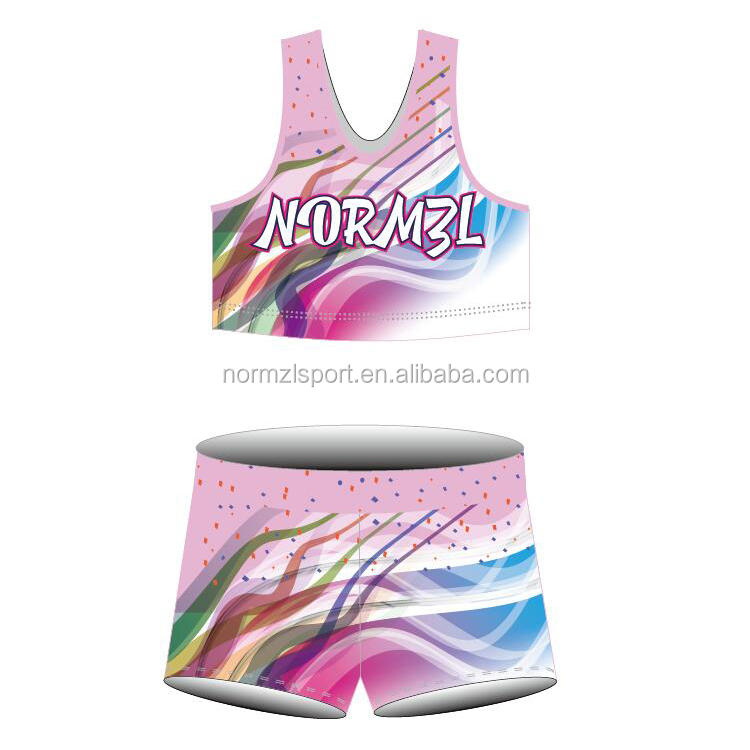 wholesale good elasticity training customized lycraial cheerleading outfits practice wear