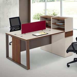 Wood Office staff desk with side cabinet