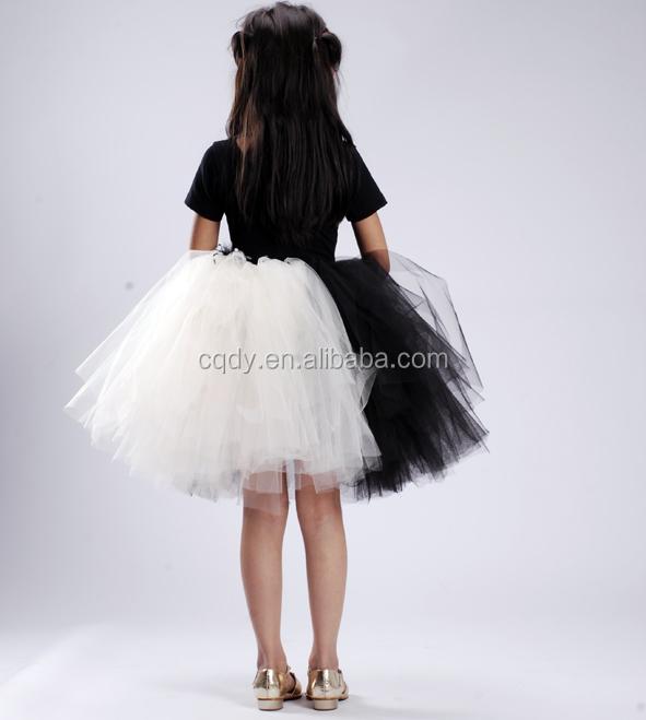 Blanco Y Negro Pluma De Lujo Flor Chica Vestido De Novia Fiesta De ...