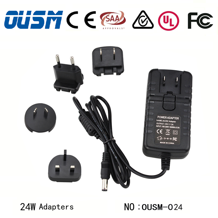 24W European Plug Adapter 24V 1A Ac Dc Adapter for European CoC V5