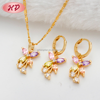 New Fashion Hot 18kgd jewelry set, Colorful AAA Zircon Weeding Jewelry Set for Women Custom Jewelry China