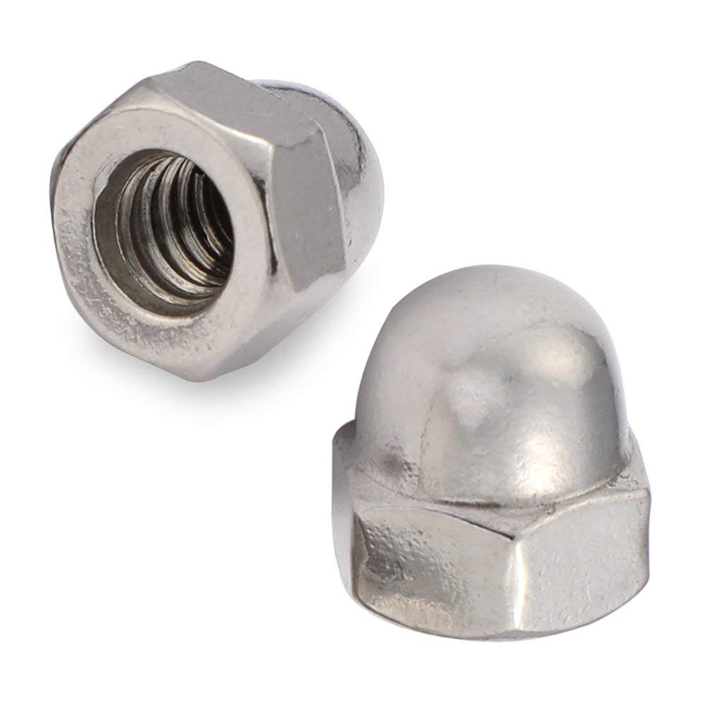 1/4-20 Acorn Cap Nuts, Stainless Steel 18-8 (304), Plain Finish, 50 PCS