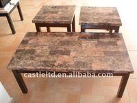 Solid wood coffee table,Faux Marble Top Coffee Table And End Table
