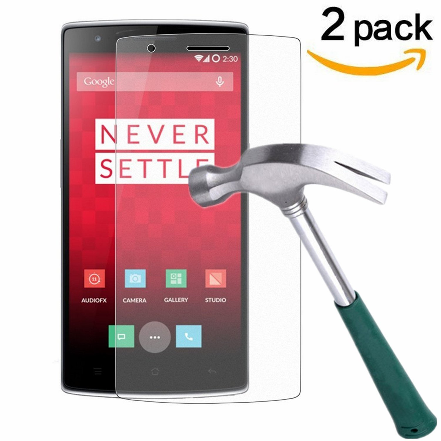 OnePlus One Screen Protector, TANTEK [Bubble-Free][HD-Clear][Anti-Scratch][Anti-Glare][Anti-Fingerprint] Tempered Glass Screen Protector for OnePlus One [2014 Model],[Lifetime Warranty]-[2Pack]