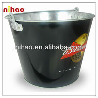 black vivid printing galvanized ice bucket with stand
