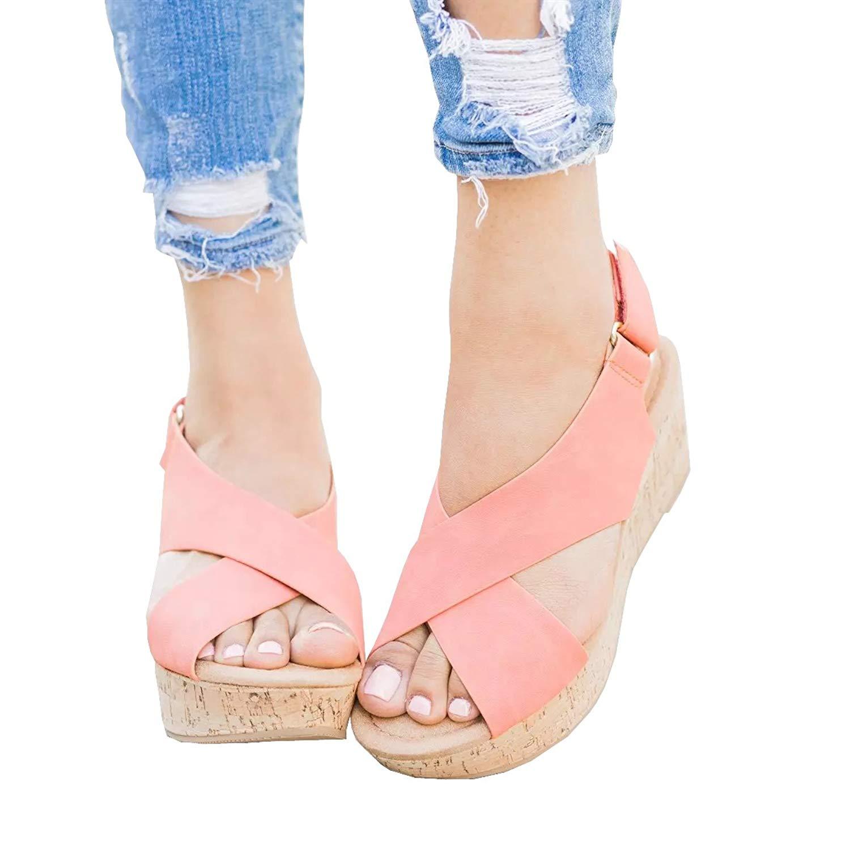 6b2e60b0f71381 Get Quotations · Women Sandals Wedges Peep Toe PU Belt Buckle Crisscross  Mid Heel Fashion Wedges Sandals Summer Shoes