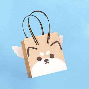 Manufacturer custom printed exquisite puppy angel Christmas paper bag candy bag fresh simple tote bag