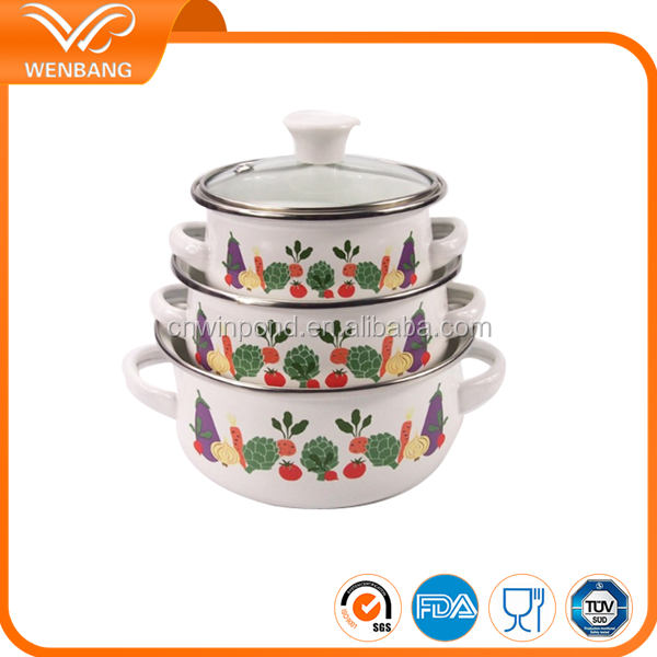 2016 4pcs russian enamel pot& clay enamel hotel cookware